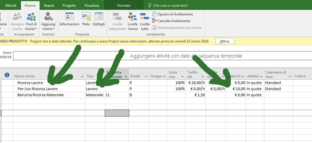 Come specificare costi nel caso di Lavoro per Uso, cost management