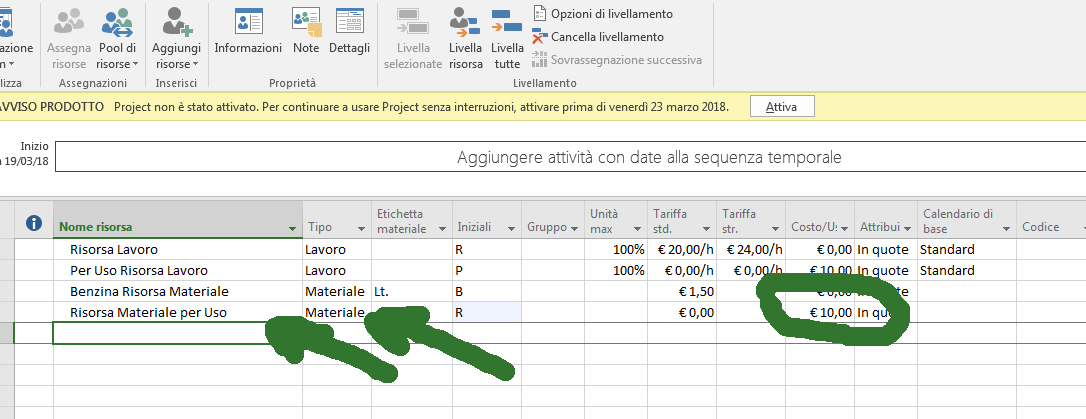 Come specificare costi nel caso Materiale per Uso, cost management